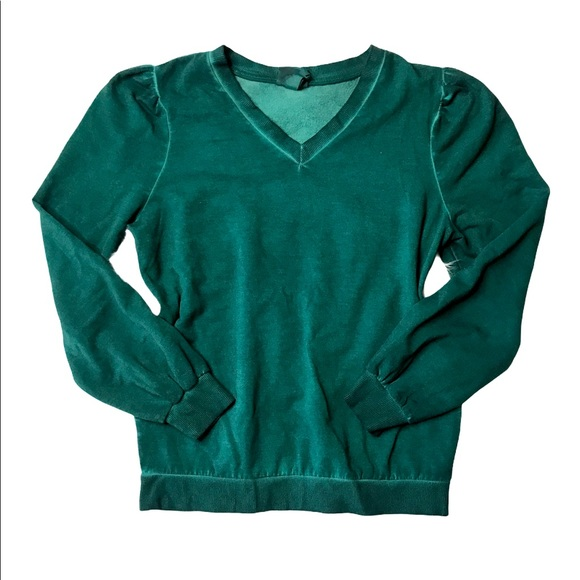 Small Emerald Green Acid Wash Sweater Sweatshirt